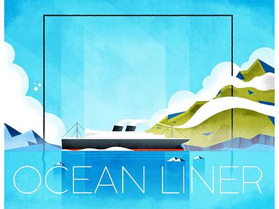 Ocean liner steam boat sea ocean ship design illustrator minimalist texture illustration vector