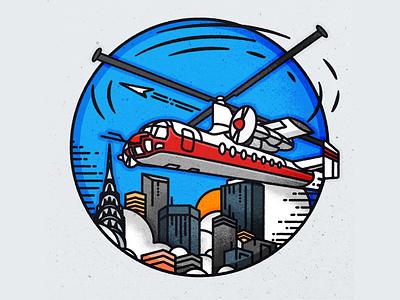 Rotodyne! retro futurism cityscape design skyline illustrator minimalist texture illustration vector