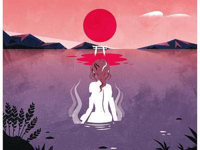 Kawatare (彼は誰) japanese culture kawatare torii japan minimalist design illustrator texture illustration vector