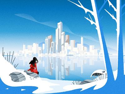 Winter Skyline cityscape design skyline illustrator architecture city minimalist texture illustration vector