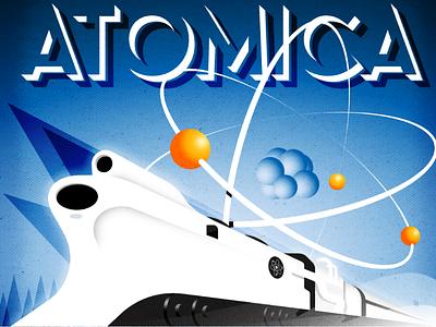Atomica travel poster train art deco vector illustration illustrator