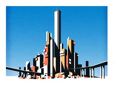 Thin City cityscape design skyline architecture illustrator city minimalist texture illustration vector