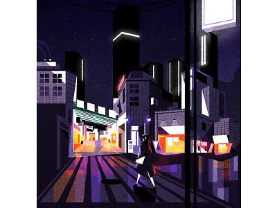 Night walk retro futurism cityscape skyline illustrator city minimalist texture illustration vector