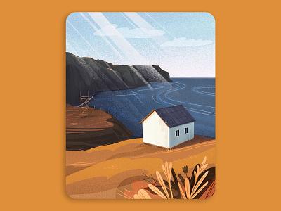 Serene landscape texture seaside sea nature house illustrations artwork art illustration art gfx flat minimal procreate drawing painting design landscape illustration