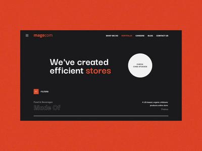 Animation for Magecom portfolio page design dribbble gsndesign orange black interaction ux web typography ui motion design magecom portfolio animation