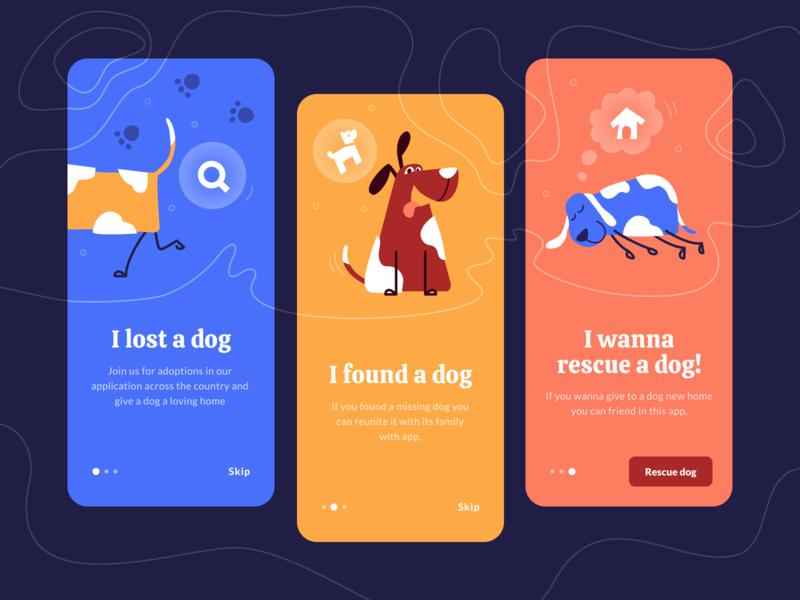Onboarding screens for rescue dog app vector ux flat illustrator ui interaction dribbble design dog mobile app illustration