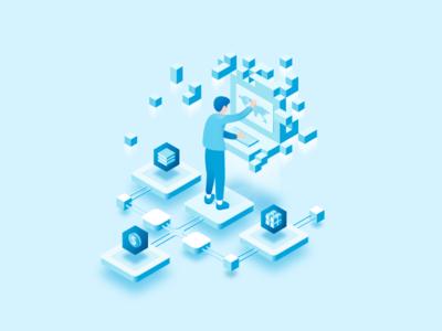Illustration for Next Generation Blockchain VPN website flat  icon vpn blue blockchain illustration isometric