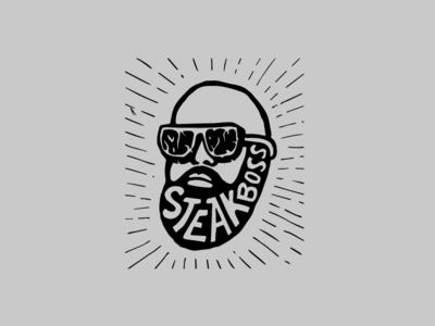 Logo of Steak Boss invite vector black logotype butcher meat boss steak logo