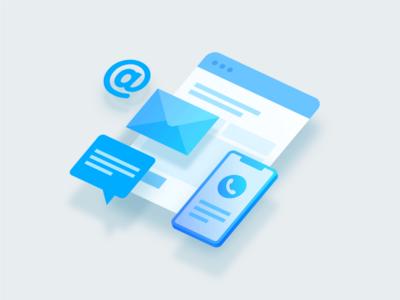 Support - Illustration phone message at envelope blue invite interaction flat illustrator illustration support