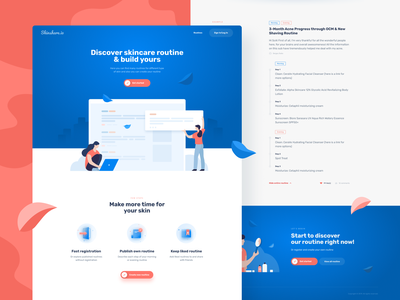 Skinshare.io landing page UI design redesign landing page concept landing landing page flat branding typography design icon web ux vector invite blue ui illustration