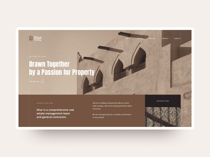 Main screen of Ithar Holding dribbble flat interaction user interface home page main page gsndesign ux ui design brown web design web real estate bahrain ithar main screen