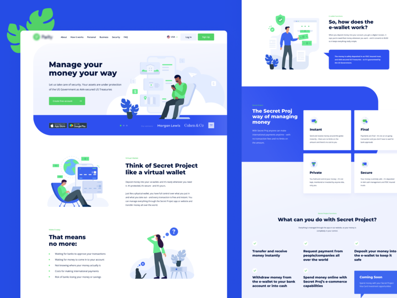Payment system home page design website design invite interaction flat illustration home page illustration dribbble design payment system vector blue illustrations ux ui web home page