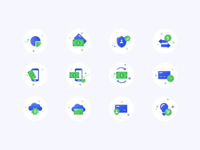 Icons set for promo website of payment system icon design gsndesign green interaction dribbble web flat design blue ui illustration vector semiflat icons