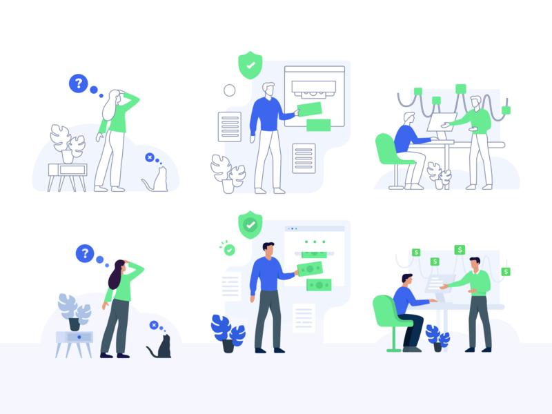 Illustrations for a promo website promowebsite payment gsndesign illustrator interaction dribbble flat web blue vector ui design illustration