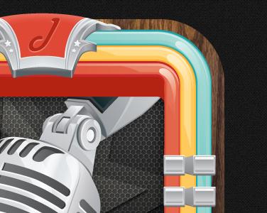 Jukeboxy Icon microphone vector shiny jukebox music app iphone chrome iphone app