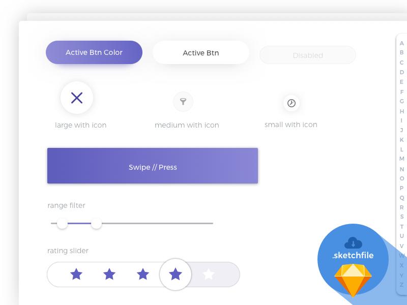 Itshansen Free UI Sample alphabar filter rating sliders kit buttons ui application sketchfile itshansen