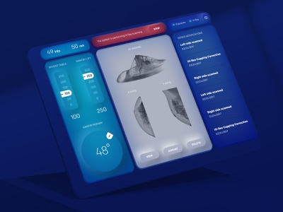 Koning Device Data Display ios 14 device interface tomography futuristic gui health healthcare medical technology neomorphism data display 3d imaging patient ux app ui design