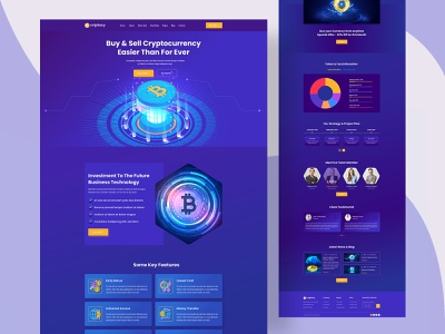 Cryptocurrency & Bitcoin Website Landing Page blockchain crypto art finance crypto wallet cryptocurrency onrlinemoney bitcoin crypto ordainit binance uiux design landing page template design web design landing page design uiux designer designerforux