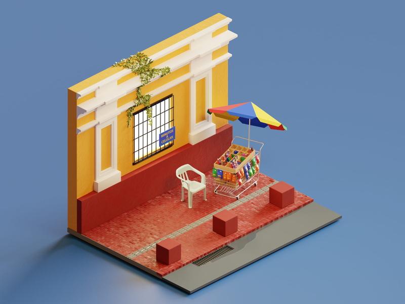 Santa Marta - Colombia vendor street 3d modeling isometric render colombia 3d illustration blender 3d art 3d