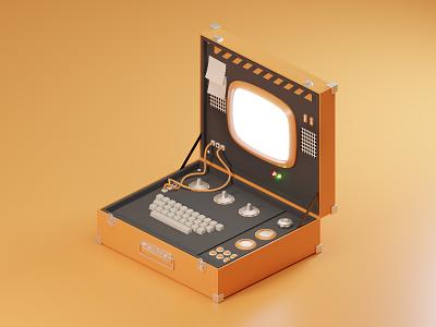 Poly Briefcase ui blender briefcase futurism vintage retro illustration 3d