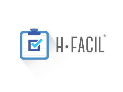 hFacil Logo logo flat trends medical colombia design blue minimal clean