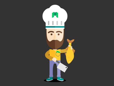 Paul - Erasmeet App flat yellow erasmeet app trends trendy lifestyle app chef hipster guy avatar illustration