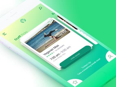 YT App ux ui stack ios mobile main modern gradients cards green yoga app