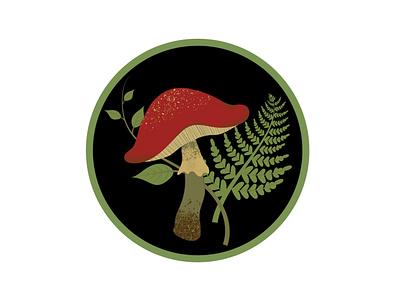 Mushroom and fern fern mushroom floral botanical nature feminine adobe illustrator vector illustration