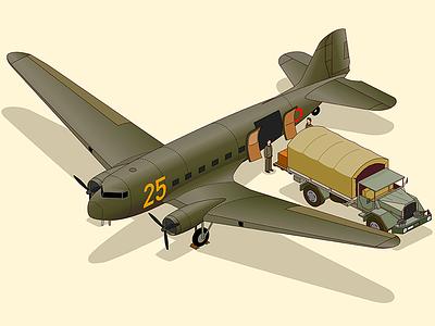 dc-3 cargo history retro douglas army diorama illustration animate cc isometric truck airplane dc-3