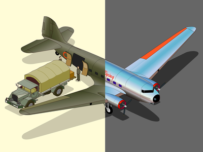 dc-3 commercial and military truck retro isometric illustration history douglas dc-3 army animate cc airplane