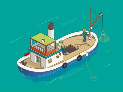 fishing boat ship fisher illustration animate cc isometric fishing boat