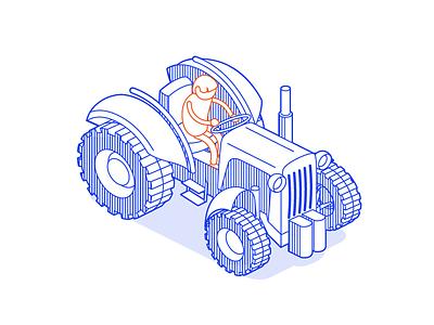 e-i-e-i-o lineart animate cc isometric tractor farmer