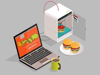 artificial food isometric 3d printer burger food fake artificial