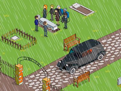 funeral rain ceremony funeral illustration animate cc isometric