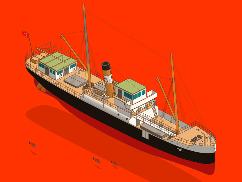 SS Bandırma 1878 bandirma ataturk freight ship animate cc isometric 1919 samsun atatürk