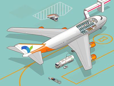 cutaway 747 on apron animate isometric airplane 747 apron cutaway