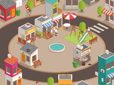 small town square square small town isometric