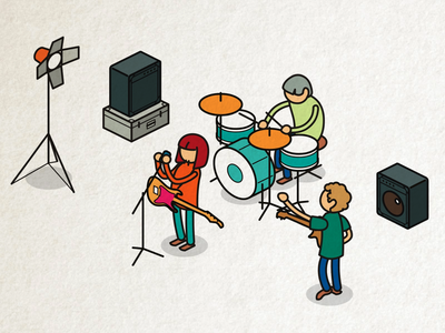 band on stage stage animate cc rock isometric music band