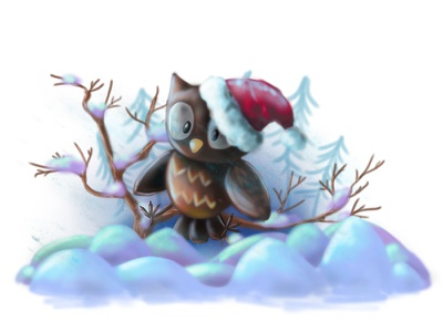owl xmass winter snow photoshop newyear illustration forchildren drawing draw owl childrenbook