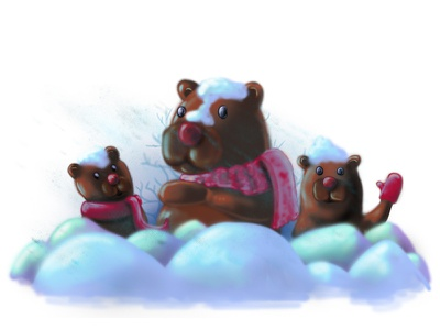 teddy bears in anticipation of the new year xmass winter snow photoshop bear newyear forchildren drawing draw childrenbook illustration