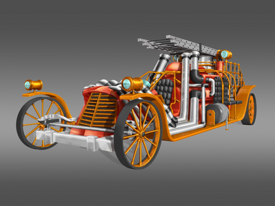 STEAMPUNK FIREFIGHTER CAR conceptart concept future scifi soldier gameart gamedesign art