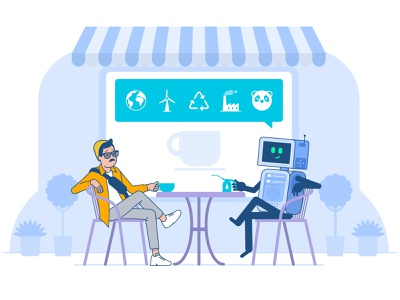 Cafe chatbot artificial intelligence ai conversation coffee cafe robot characters character illustration