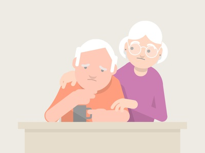 Senior couple  age old couple flat vector characters