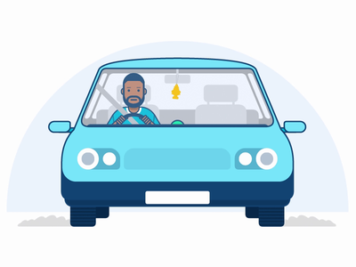 Driving to work character illustration ae aftereffects voice driving car