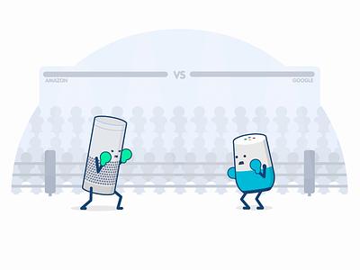 Amazon Vs Google rubberhose after effects echo ok google fighting home alexa voice assistant google amazon boxing