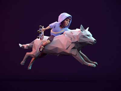 Eido Wolf Run Cycle - Infinite Skater run 3d animal game artist render wolf game design game art character animation animation run cycle 3d art 3d animation rigged redshift3d lowpolyart lowpoly3d lowpoly