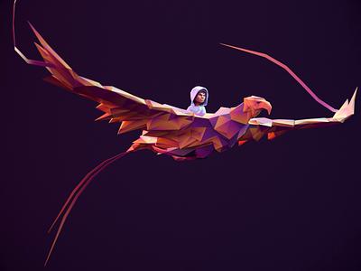 Phoenix - Infinite Skater cycle loop flight phoenix redshift3d 3d game art 3d art 3d animation rigged lowpolyart lowpoly3d lowpoly character animation animation