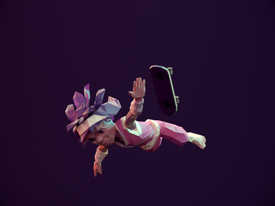Eido Falling - Infinite Skater loop falling cycle game art rigged 3d animation redshift3d lowpolyart lowpoly3d lowpoly character animation animation
