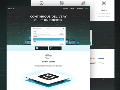 Drone.io Landing page drone landingpage docker code features comit repository
