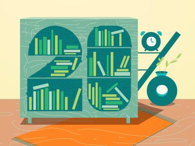 20% Books grid books furniture vector interior grid